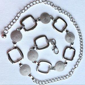 Accessories - Geometric chain hip belt silver vintage